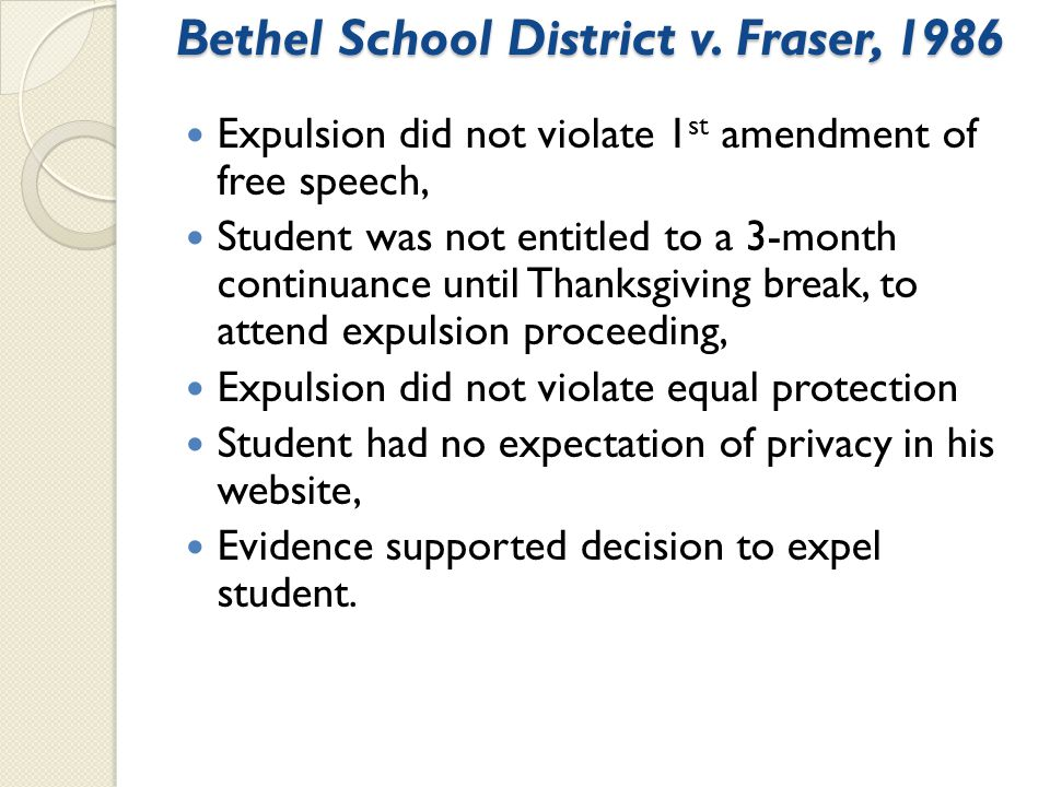 Bethel School District v. Fraser, 1986 Expulsion did not violate 1 st amendment of free speech, Student was not entitled to a 3-month continuance unti