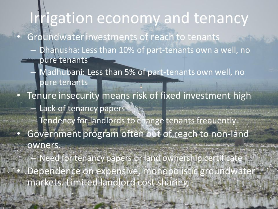 Irrigation economy and tenancy Groundwater investments of reach to tenants – Dhanusha: Less than 10% of part-tenants own a well, no pure tenants – Madhubani: Less than 5% of part-tenants own well, no pure tenants Tenure insecurity means risk of fixed investment high – Lack of tenancy papers – Tendency for landlords to change tenants frequently Government program often out of reach to non-land owners.