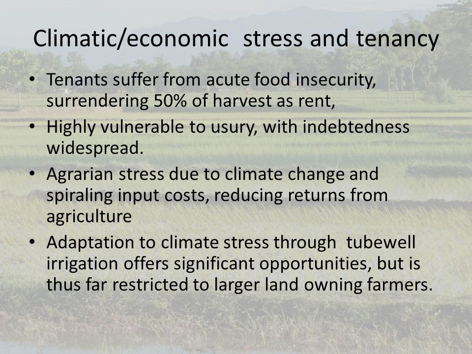 Climatic/economic stress and tenancy Tenants suffer from acute food insecurity, surrendering 50% of harvest as rent, Highly vulnerable to usury, with indebtedness widespread.