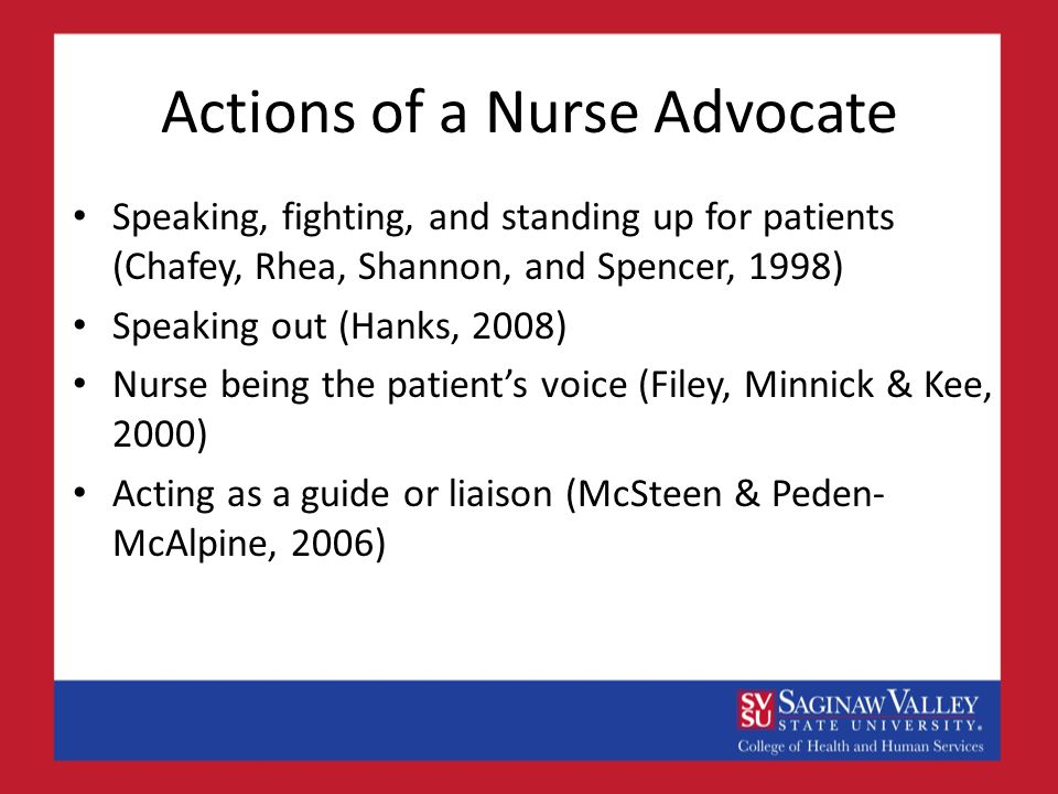 Actions of a Nurse Advocate Speaking, fighting, and standing up for patients (Chafey, Rhea, Shannon, and Spencer, 1998) Speaking out (Hanks, 2008) Nurse being the patient's voice (Filey, Minnick & Kee, 2000) Acting as a guide or liaison (McSteen & Peden- McAlpine, 2006)