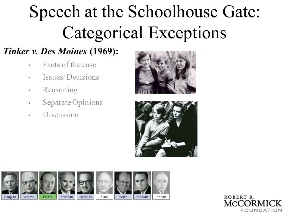 Speech at the Schoolhouse Gate: Categorical Exceptions Tinker v.