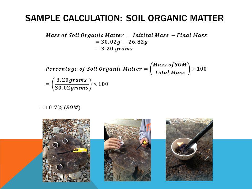 SAMPLE CALCULATION: SOIL ORGANIC MATTER