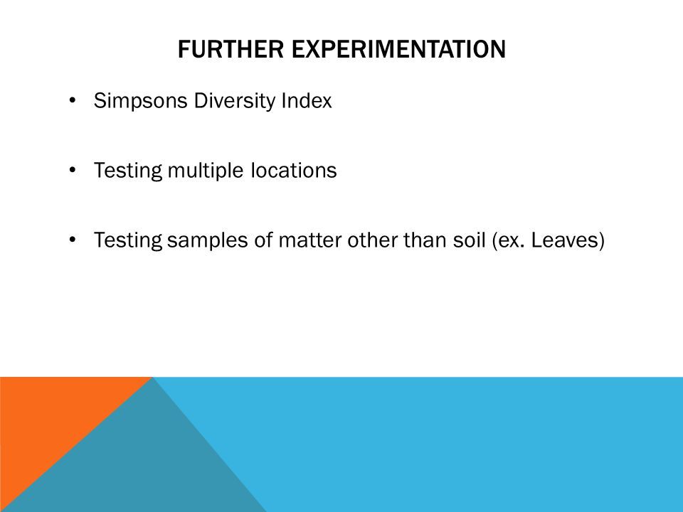 FURTHER EXPERIMENTATION Simpsons Diversity Index Testing multiple locations Testing samples of matter other than soil (ex.