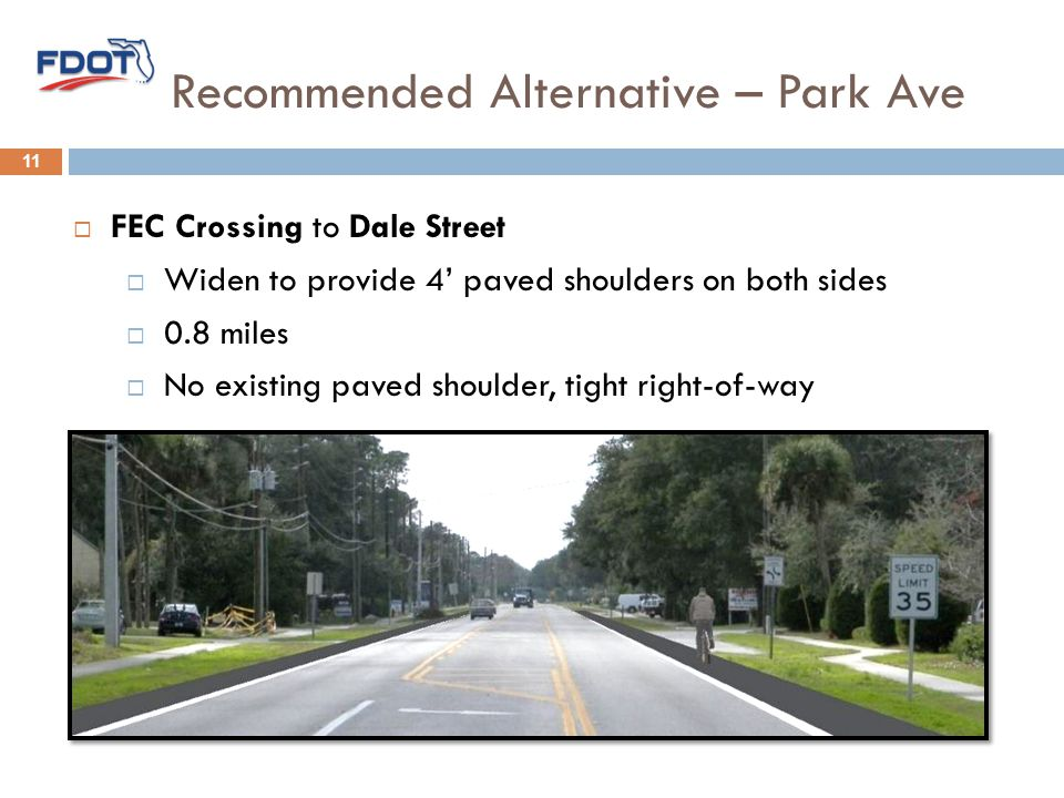 Recommended Alternative – Park Ave 11  FEC Crossing to Dale Street  Widen to provide 4' paved shoulders on both sides  0.8 miles  No existing paved shoulder, tight right-of-way