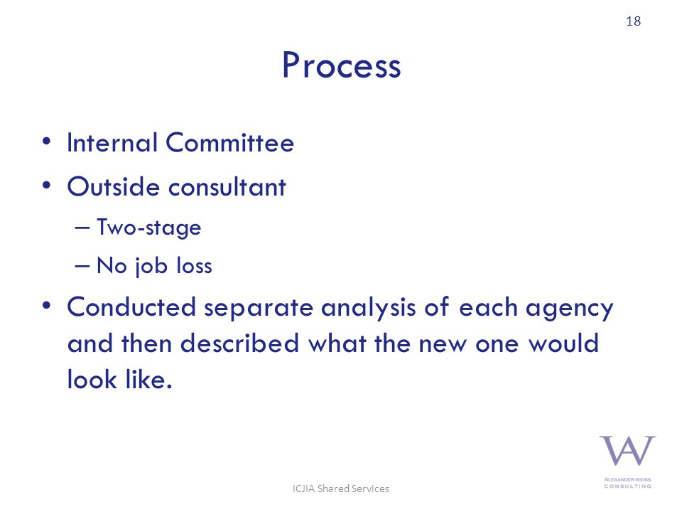 Process Internal Committee Outside consultant – Two-stage – No job loss Conducted separate analysis of each agency and then described what the new one would look like.