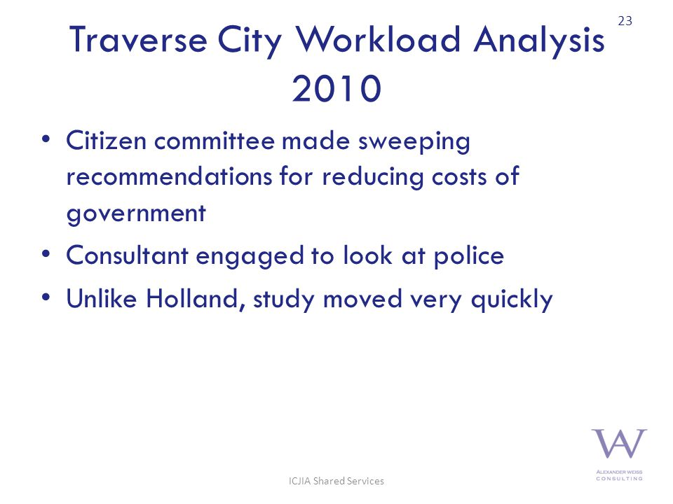 Traverse City Workload Analysis 2010 Citizen committee made sweeping recommendations for reducing costs of government Consultant engaged to look at police Unlike Holland, study moved very quickly 23 ICJIA Shared Services