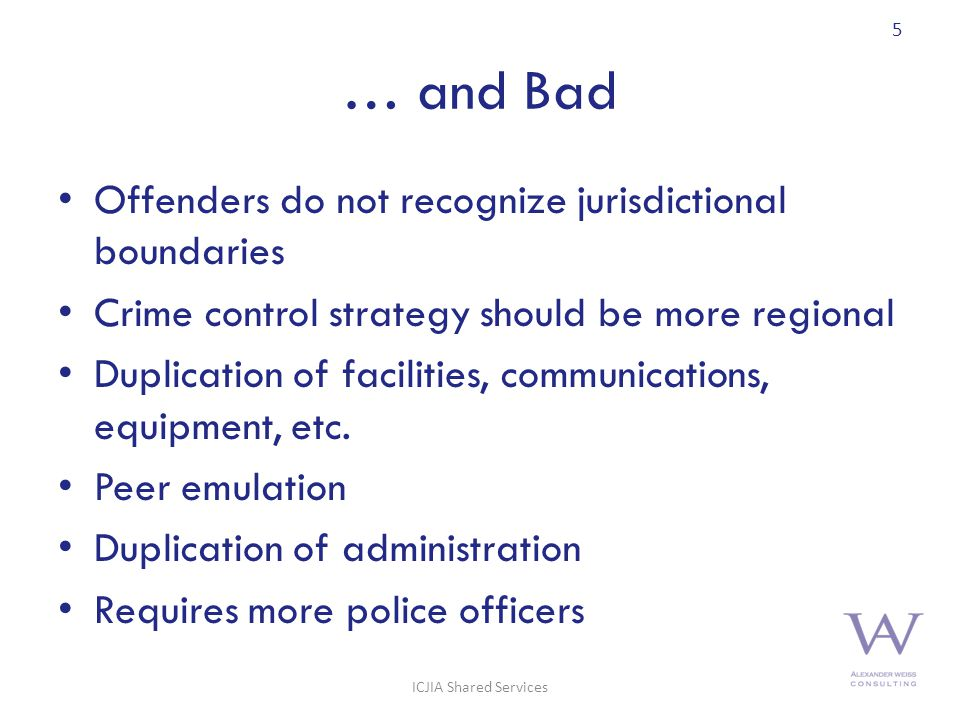… and Bad Offenders do not recognize jurisdictional boundaries Crime control strategy should be more regional Duplication of facilities, communications, equipment, etc.