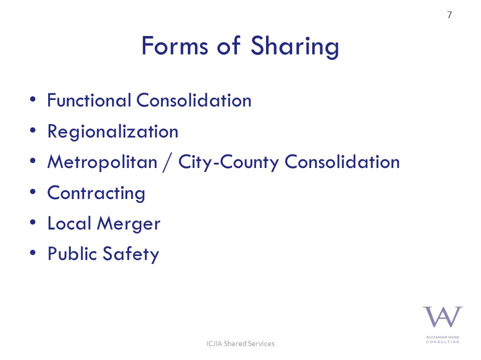 Forms of Sharing Functional Consolidation Regionalization Metropolitan / City-County Consolidation Contracting Local Merger Public Safety 7 ICJIA Shared Services