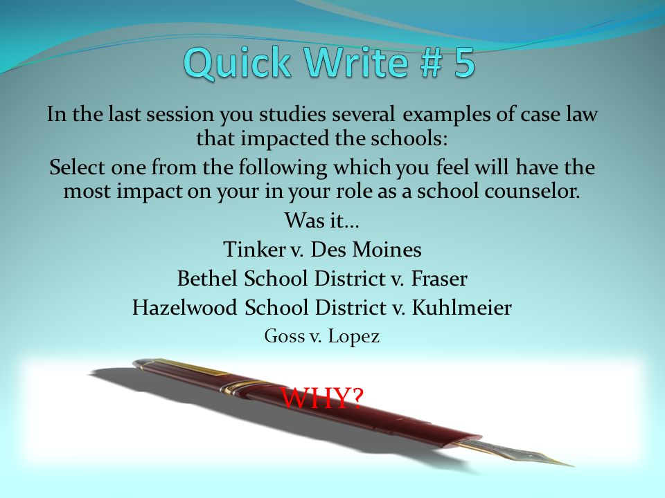 In the last session you studies several examples of case law that impacted the schools: Select one from the following which you feel will have the most impact on your in your role as a school counselor.