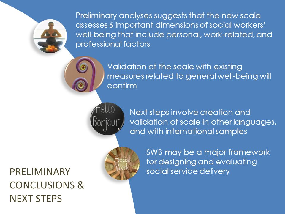 Preliminary analyses suggests that the new scale assesses 6 important dimensions of social workers' well-being that include personal, work-related, and professional factors Validation of the scale with existing measures related to general well-being will confirm Next steps involve creation and validation of scale in other languages, and with international samples SWB may be a major framework for designing and evaluating social service delivery PRELIMINARY CONCLUSIONS & NEXT STEPS
