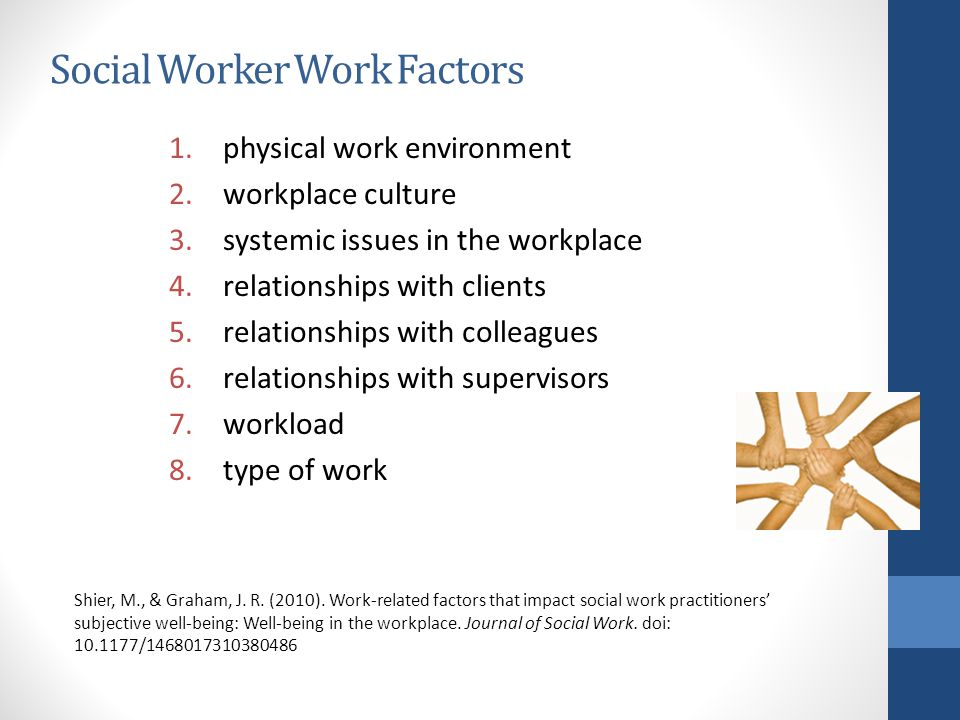 Social Worker Work Factors 1.physical work environment 2.workplace culture 3.systemic issues in the workplace 4.relationships with clients 5.relationships with colleagues 6.relationships with supervisors 7.workload 8.type of work Shier, M., & Graham, J.