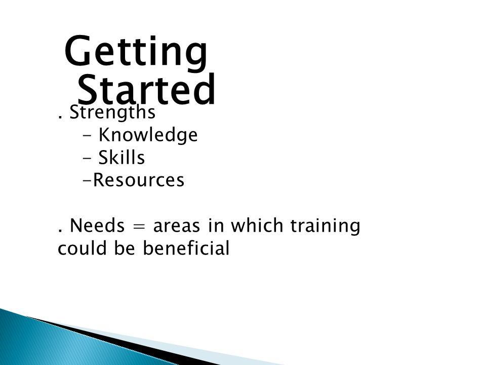 Getting Started. Strengths - Knowledge - Skills -Resources.