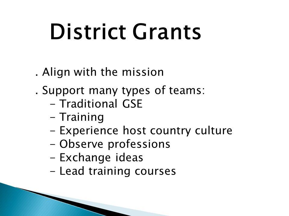 District Grant Benefits.Tremendous flexibility. No restrictions on participant age.