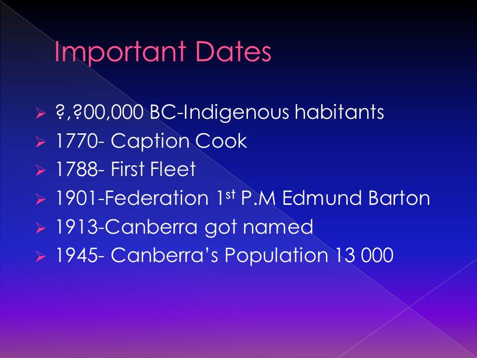  ?,?00,000 BC-Indigenous habitants  1770- Caption Cook  1788- First Fleet  1901-Federation 1 st P.M Edmund Barton  1913-Canberra got named  1945- Canberra's Population 13 000