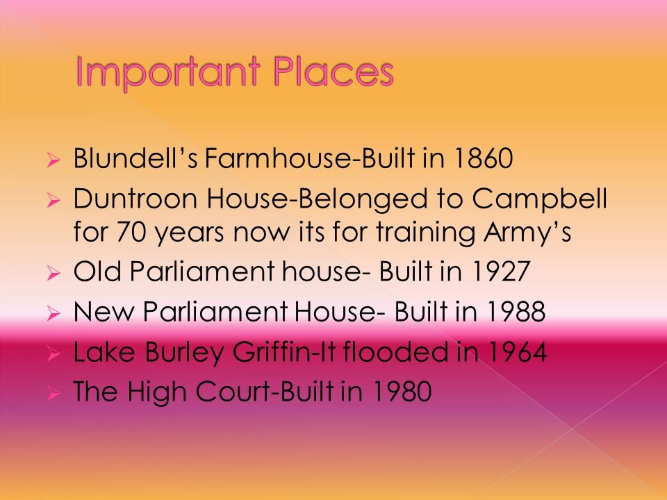  Blundell's Farmhouse-Built in 1860  Duntroon House-Belonged to Campbell for 70 years now its for training Army's  Old Parliament house- Built in 1927  New Parliament House- Built in 1988  Lake Burley Griffin-It flooded in 1964  The High Court-Built in 1980