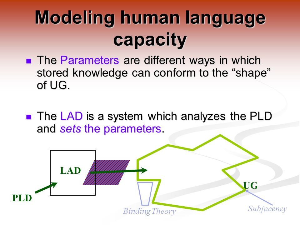 The Parameters are different ways in which stored knowledge can conform to the shape of UG.