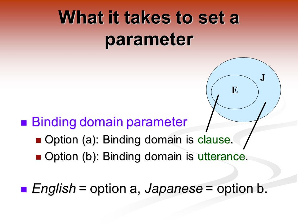 What it takes to set a parameter Binding domain parameter Binding domain parameter Option (a): Binding domain is clause.
