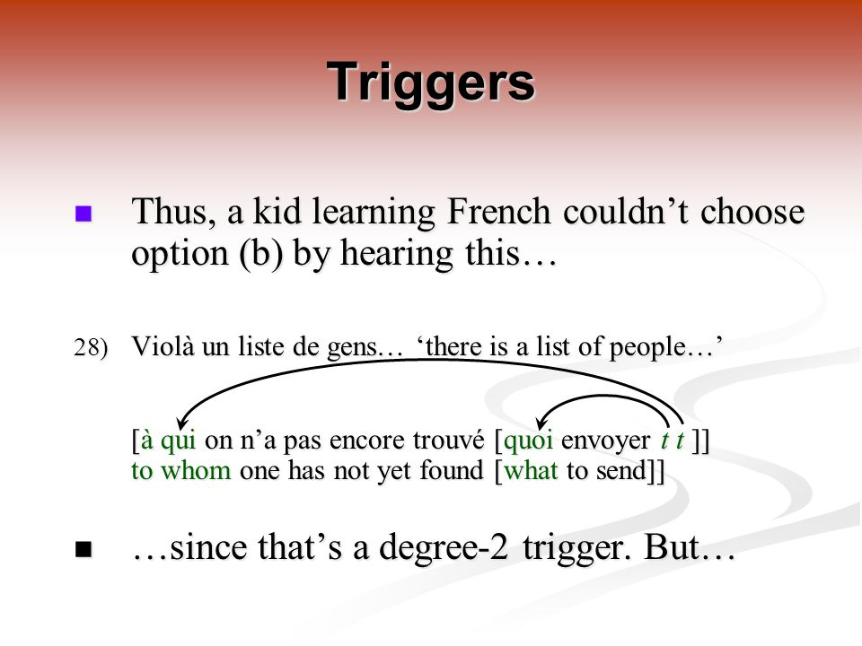 Triggers Thus, a kid learning French couldn't choose option (b) by hearing this… Thus, a kid learning French couldn't choose option (b) by hearing this… 28) Violà un liste de gens… 'there is a list of people…' [à qui on n'a pas encore trouvé [quoi envoyer t t ]] to whom one has not yet found [what to send]] …since that's a degree-2 trigger.