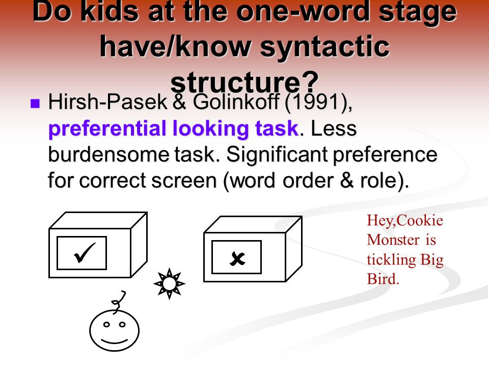 Do kids at the one-word stage have/know syntactic structure.