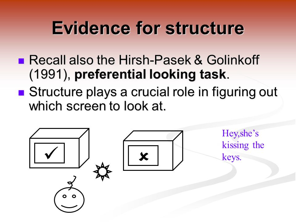 Evidence for structure Recall also the Hirsh-Pasek & Golinkoff (1991), preferential looking task.