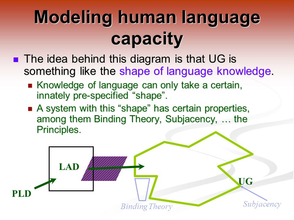 The idea behind this diagram is that UG is something like the shape of language knowledge.