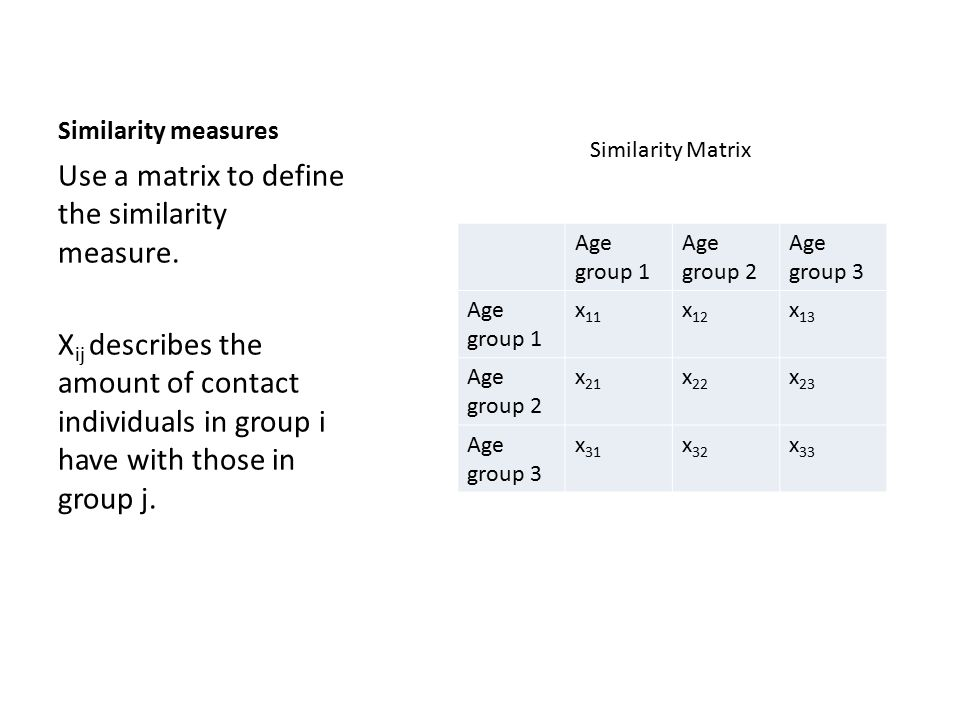 Similarity measures Use a matrix to define the similarity measure.