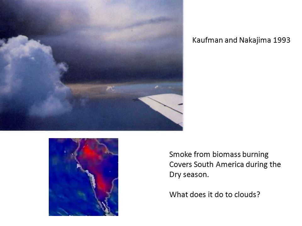 Kaufman and Nakajima 1993 Smoke from biomass burning Covers South America during the Dry season. What does it do to clouds?