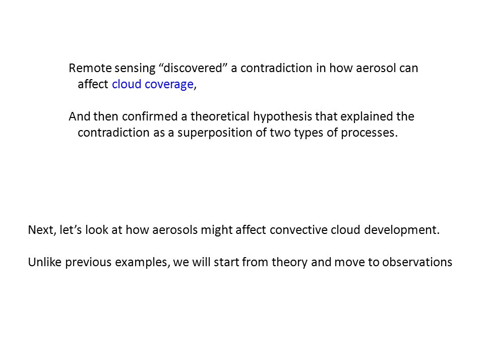 "Remote sensing ""discovered"" a contradiction in how aerosol can affect cloud coverage, And then confirmed a theoretical hypothesis that explained the c"