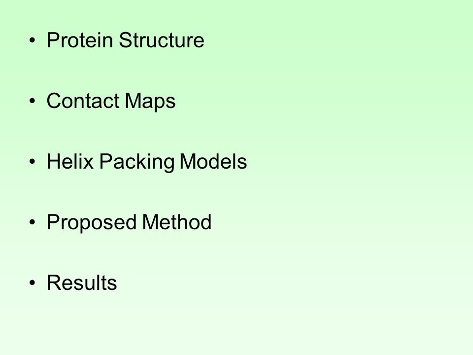 Protein Structure Contact Maps Helix Packing Models Proposed Method Results