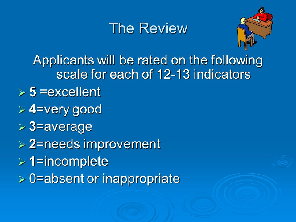 The Review Applicants will be rated on the following scale for each of 12-13 indicators  5 =excellent  4=very good  3=average  2=needs improvement