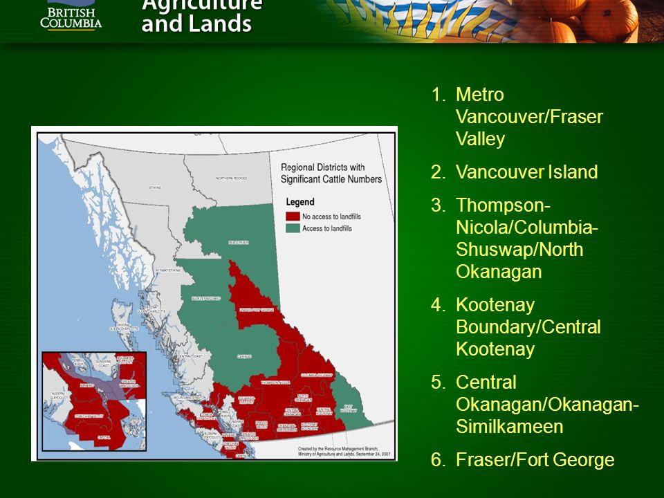 1.Metro Vancouver/Fraser Valley 2.Vancouver Island 3.Thompson- Nicola/Columbia- Shuswap/North Okanagan 4.Kootenay Boundary/Central Kootenay 5.Central