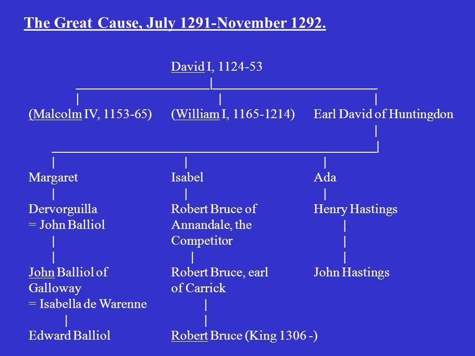 David I, 1124-53 ____________________|_________________________ || | (Malcolm IV, 1153-65)(William I, 1165-1214)Earl David of Huntingdon | _________________________________________________| | | | MargaretIsabelAda | | | DervorguillaRobert Bruce ofHenry Hastings = John BalliolAnnandale, the | |Competitor | | | | John Balliol ofRobert Bruce, earl John Hastings Gallowayof Carrick = Isabella de Warenne | | | Edward BalliolRobert Bruce (King 1306 -) The Great Cause, July 1291-November 1292.