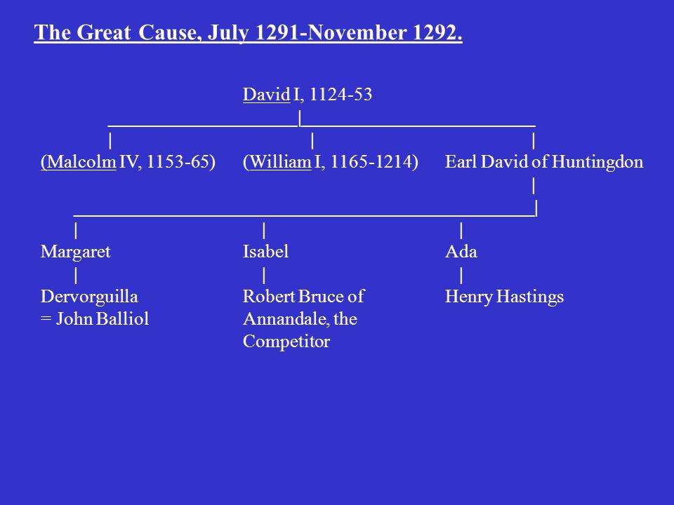 David I, 1124-53 ____________________|_________________________ || | (Malcolm IV, 1153-65)(William I, 1165-1214)Earl David of Huntingdon | _________________________________________________| | | | MargaretIsabelAda | | | DervorguillaRobert Bruce ofHenry Hastings = John BalliolAnnandale, the Competitor The Great Cause, July 1291-November 1292.
