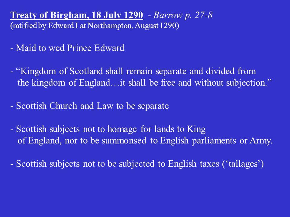 Treaty of Birgham, 18 July 1290 - Barrow p.