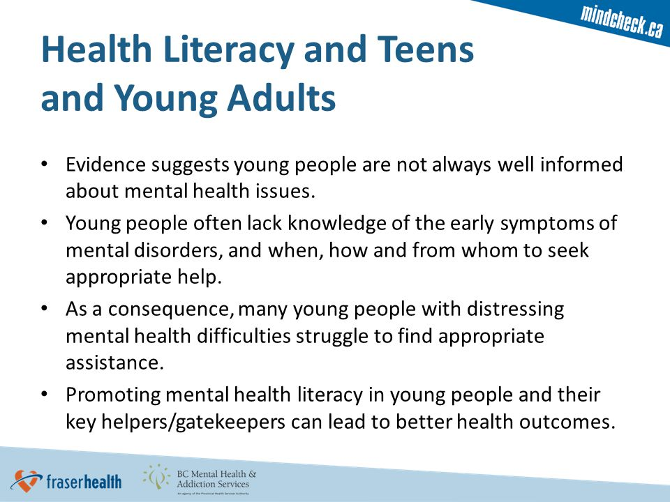 Evidence suggests young people are not always well informed about mental health issues.
