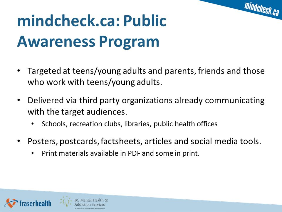Targeted at teens/young adults and parents, friends and those who work with teens/young adults.