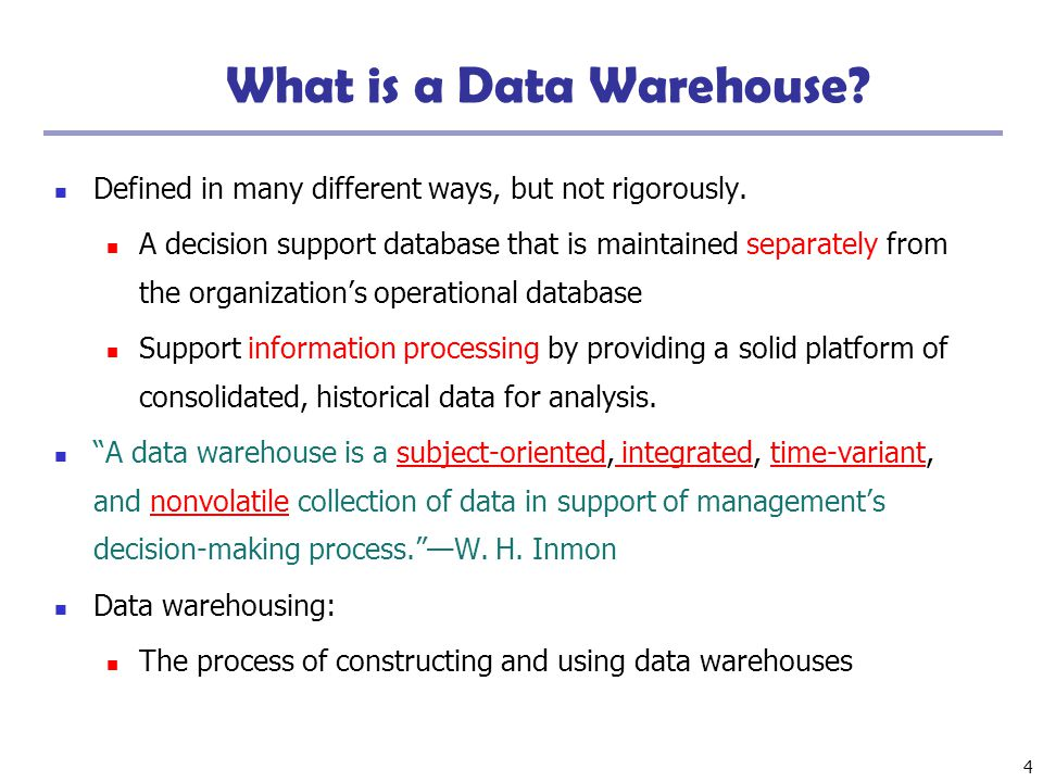 5 Data Warehouse—Subject-Oriented Organized around major subjects, such as customer, product, sales Focusing on the modeling and analysis of data for decision makers, not on daily operations or transaction processing Provide a simple and concise view around particular subject issues by excluding data that are not useful in the decision support process