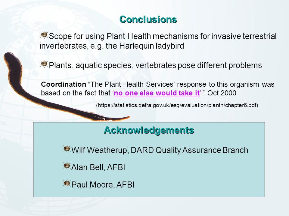 Conclusions Acknowledgements Wilf Weatherup, DARD Quality Assurance Branch Alan Bell, AFBI Paul Moore, AFBI Scope for using Plant Health mechanisms for invasive terrestrial invertebrates, e.g.