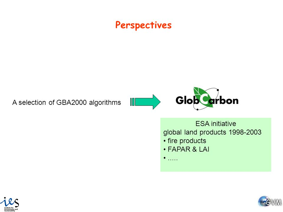Perspectives A selection of GBA2000 algorithms ESA initiative global land products 1998-2003 fire products FAPAR & LAI.....