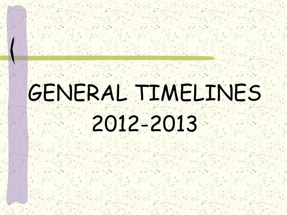 GENERAL TIMELINES 2012-2013