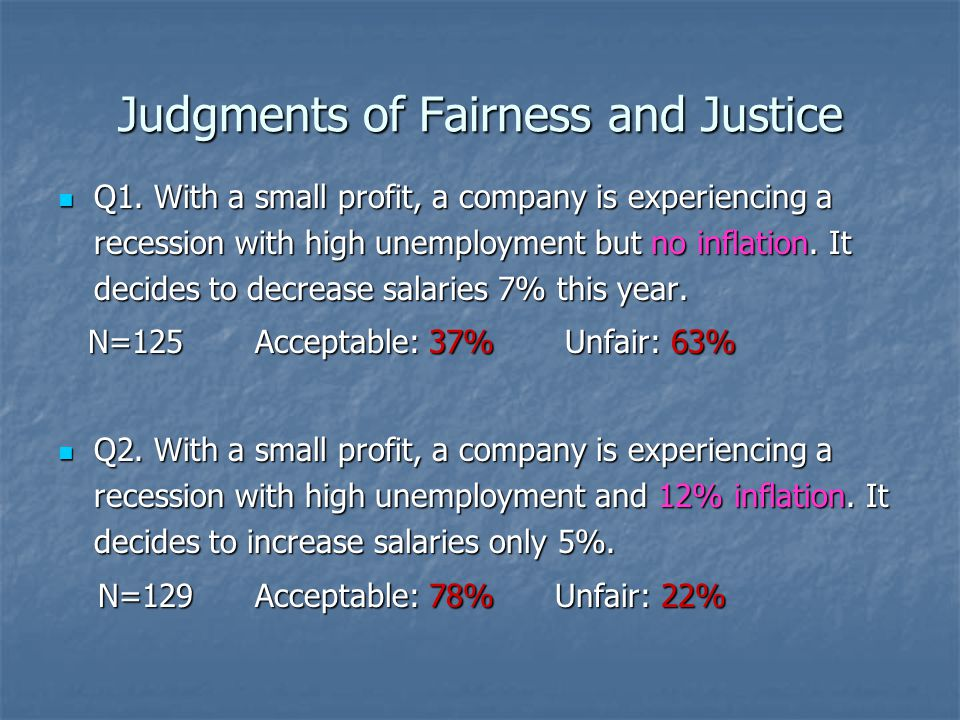 Judgments of Fairness and Justice Q1.
