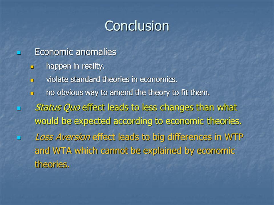 Conclusion Economic anomalies Economic anomalies happen in reality.