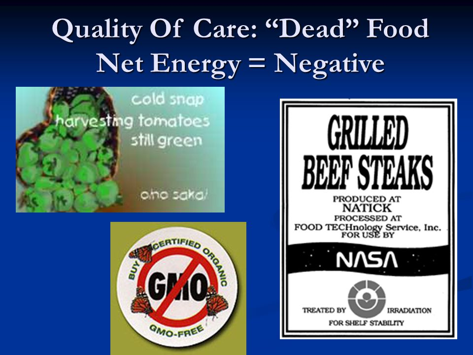 Quality Of Care: Dead Food Net Energy = Negative