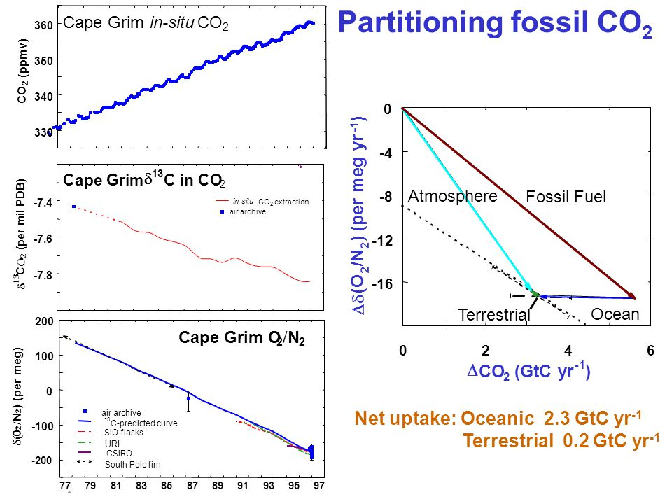 Net uptake: Oceanic 2.3 GtC yr -1 Terrestrial 0.2 GtC yr -1 Partitioning fossil CO 2 -7.8 -7.6 -7.4   C    (per mil PDB) Cape Grim  13 C in CO 2 in-situ CO 2 extraction air archive -200 -100 0 100 200  0 2 /N/N 2 ) (per meg) 77 79 81 83 85 87 89 91 93 95 97 Cape Grim O 2 /N/N 2 air archive 13 C-predicted curve SIO flasks URI CSIRO South Pole firn 330 340 350 360 CO 2 (ppmv) Cape Grim in-situ CO 2