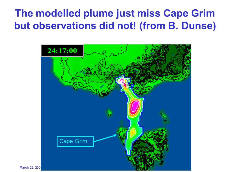 March 23, 20049 th IGM/SPG/Symposium, Canberra The modelled plume just miss Cape Grim but observations did not.