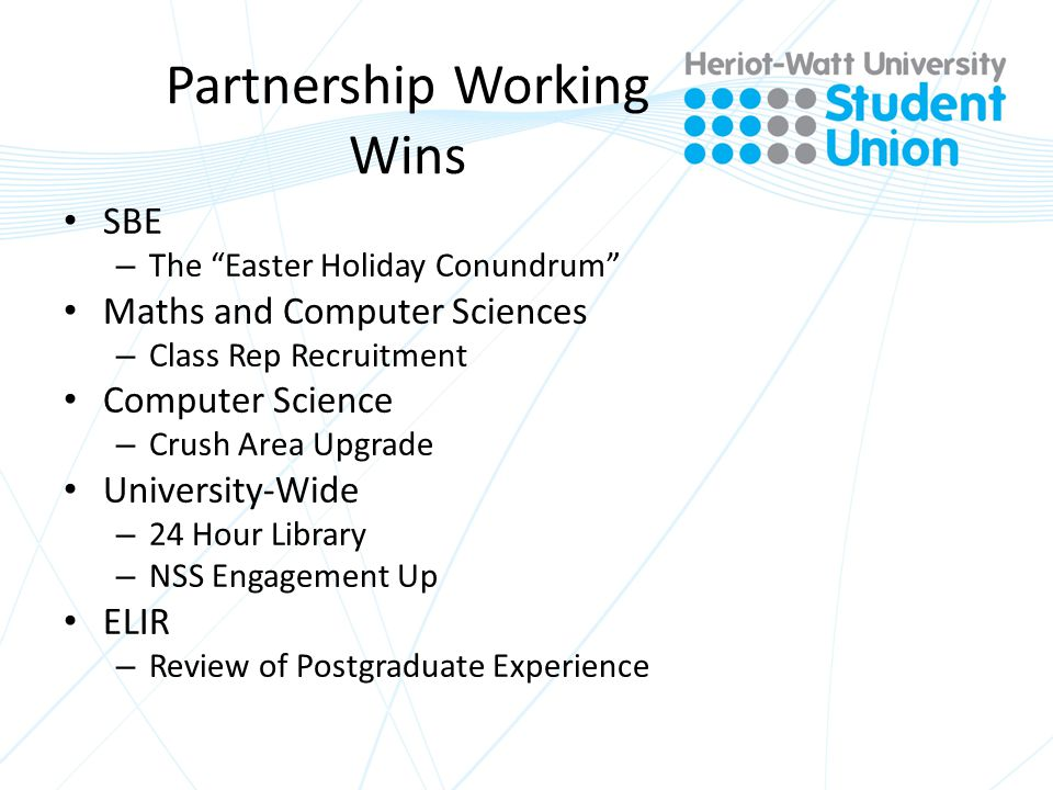 Partnership Working Wins SBE – The Easter Holiday Conundrum Maths and Computer Sciences – Class Rep Recruitment Computer Science – Crush Area Upgrade University-Wide – 24 Hour Library – NSS Engagement Up ELIR – Review of Postgraduate Experience