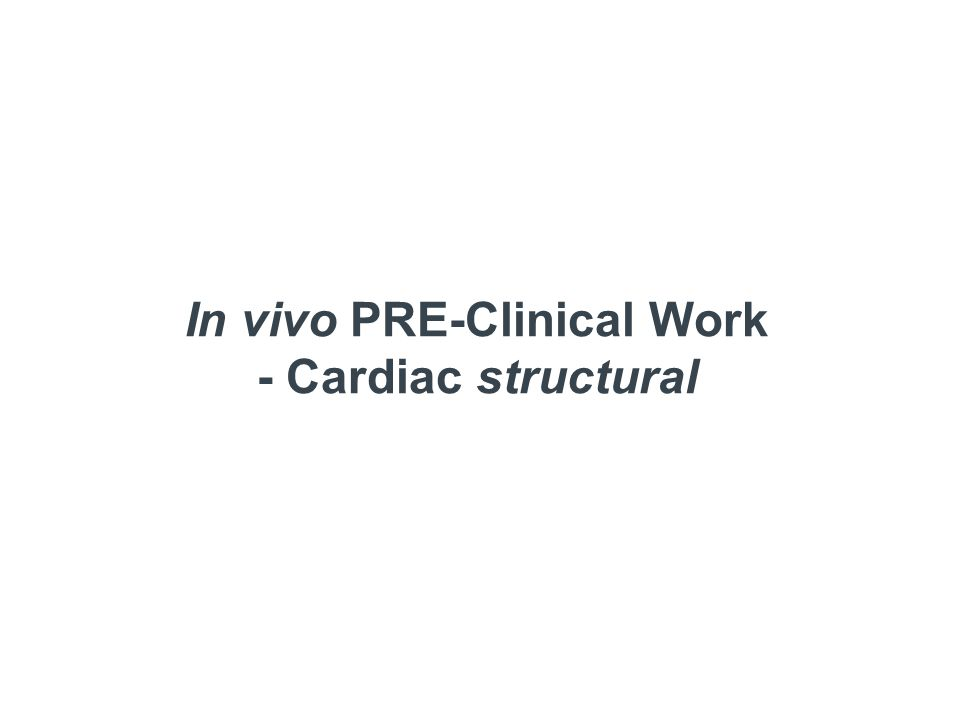 In vivo PRE-Clinical Work - Cardiac structural