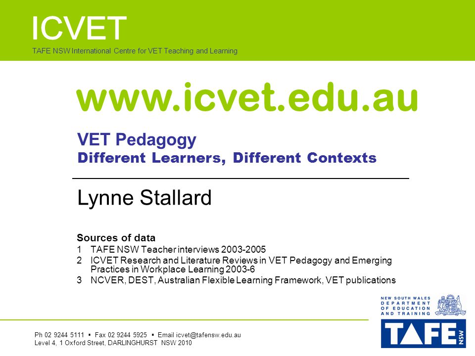 TAFE NSW International Centre for VET Teaching and Learning  How different people are  How to get people to do things that you want done  Who has real power in the organisation  How to handle sensitive information  How to protect one's workmates  Factors outside the organisation which impact on what happens Workplace Learning – What are Teachers and Research telling us.