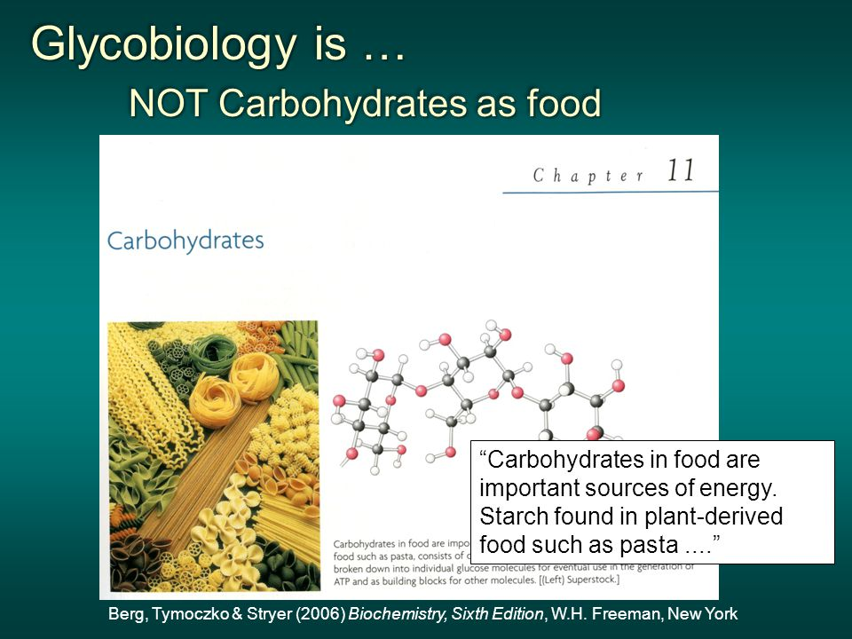 Glycobiology is … NOT Carbohydrates as food NOT Carbohydrates as food Glycobiology is … NOT Carbohydrates as food NOT Carbohydrates as food Berg, Tymoczko & Stryer (2006) Biochemistry, Sixth Edition, W.H.
