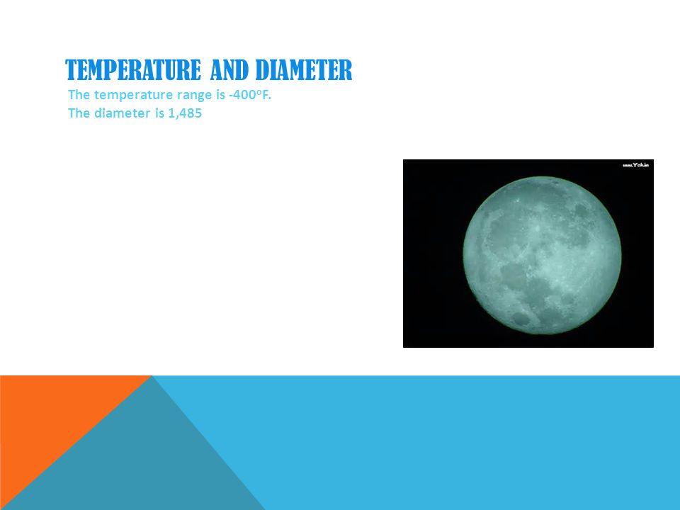 TEMPERATURE AND DIAMETER The temperature range is -400 o F. The diameter is 1,485
